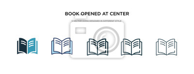 Obraz book opened at center icon in different style vector illustration. two colored and black book opened at center vector icons designed in filled, outline, line and stroke style can be used for web,