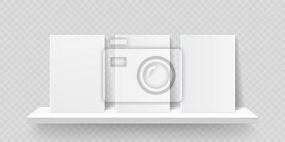 Obraz Book shelf mockup. Vector bookshelf wall with blank book front covers, brochure gallery shop shelves template