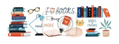 Obraz Books and reading set. Textbooks for academic studies, cute cats, houseplant, glasses. Bundle of decorative design elements isolated on white background. Flat cartoon colorful vector illustration.