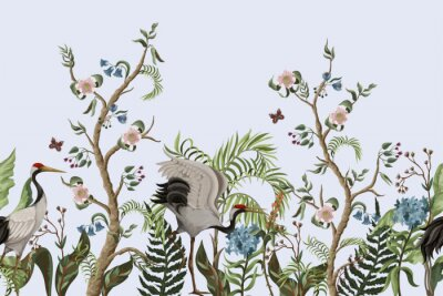 Obraz Border with cranes and peonies in chinoiserie style. Vector.