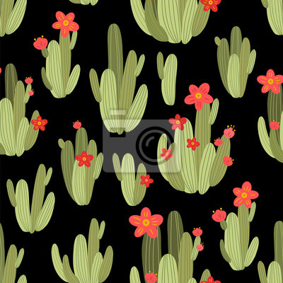 botanical illustration with Peruvian cactus. Vector seamless pattern on black background. Summer plants.