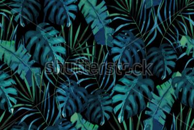 Obraz Botaniczny egzotyczny wzór, zielone liście tropikalne, lato wektor ilustracja na czarnym tle