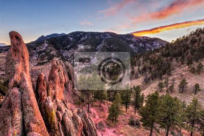 Boulder Red Rocks i Flagstaff Mountain Sunset