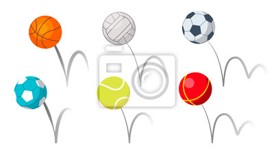 Obraz Bounce Balls Sport Playing Equipment Set Vector. Basketball And Soccer Or Football, Volleyball And Tennis Game Accessories Bounce With Trajectory Grey Line. Colorful Flat Cartoon Illustration