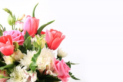 Obraz bouquet of different flowers on a white background