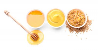 Obraz Bowls of honey, mustard and sauce on white background