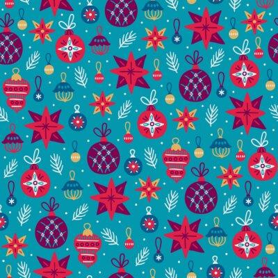 Boże Narodzenie bezszwowe wzór z bombkami, kulkami, gwiazdami, gałęzie jodły, żołądź