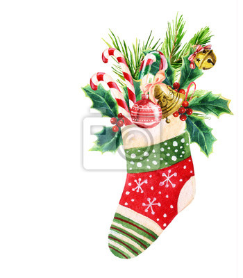 Boże Narodzenie skarpety w akwarela