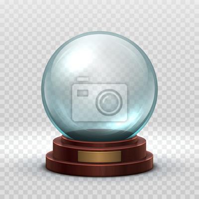 Obraz Boże Narodzenie snowglobe. Pusta kula ze szkła kryształowego. Magiczne święta Bożego Narodzenia śnieg piłka wektor makieta na białym tle. Ilustracja przezroczystości kopuły pamiątki, kula kuli przezro