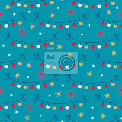 Bożenarodzeniowy bezszwowy wzór z girlandą, światłami, piłkami, gwiazdami