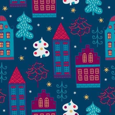 Bożenarodzeniowy bezszwowy wzór z jedlinowymi drzewami, domami, gwiazdami, płatkami śniegu