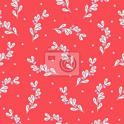 Bożenarodzeniowy bezszwowy wzór z jemiołą i płatkami śniegu na czerwonym tle
