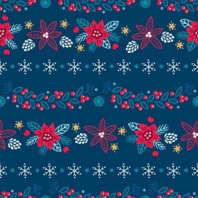 Bożenarodzeniowy bezszwowy wzór z poinsecją, rożkiem, girlandami, liśćmi, gwiazdami, płatkami śniegu