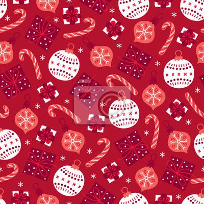 Bożenarodzeniowy bezszwowy wzór z prezentem, piłką, bauble, cukierkiem, płatek śniegu