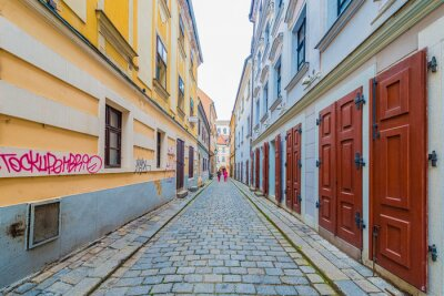 BRATISLAVA, SK - MAY 25, 2015: Narrow streets of the old town area in Bratislava, Slovakia.