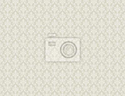 Obraz Brązowa złota tapeta z białym wzorem adamaszkowym