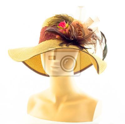 Brązowy kapelusz z piór i Rose