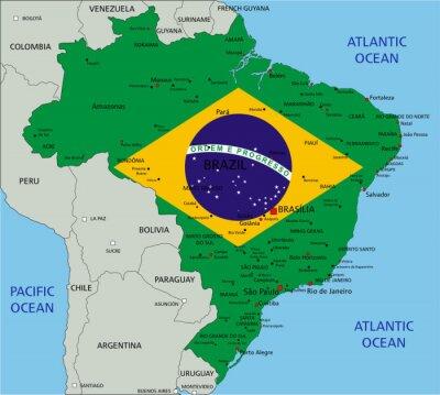 Obraz Brazylia bardzo szczegółowe mapy polityczne z flag narodowych.