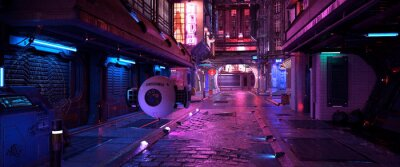 Obraz Bright neon night in a cyberpunk city. Photorealistic 3d illustration of the futuristic city. Empty street with blue neon lights.
