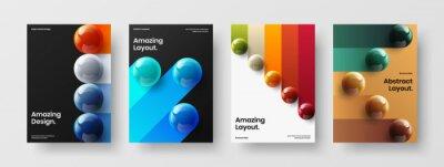 Obraz Bright realistic balls poster illustration collection. Vivid handbill A4 design vector template set.