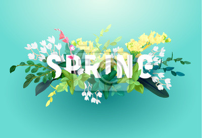 Obraz Bright spring design on a blue background. A voluminous inscription with an ornament from flowers, green leaves and plant branches. Vector illustration.