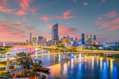 Obraz Brisbane city skyline and Brisbane river at sunset