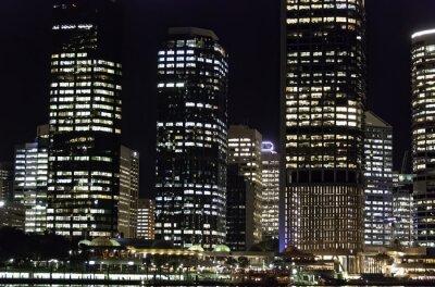 Brisbane night skyline city buildings exterior, Queensland, Australia