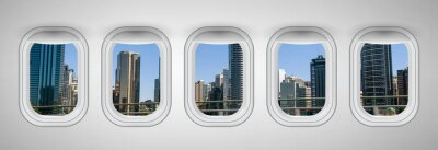Brisbane skyline as seen through airplane windows. Holiday and travel concept