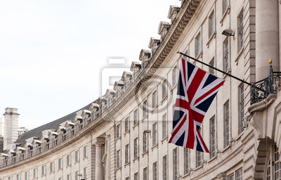 Obraz British flag on the background of the historic building of London, UK
