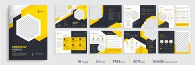Obraz Brochure template layout design, minimal business brochure orange color shape design, annual report, company profile, editable template layout.