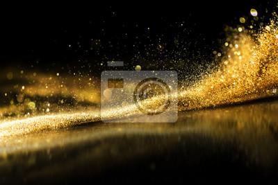 Obraz brokat światła tło grunge, złoty brokat niewyraźne streszczenie Twinkly Lights tło.