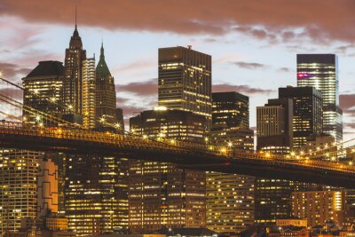 Obraz Brooklyn Bridge i Śródmieście Wieżowce w Nowym Jorku na zmierzchu