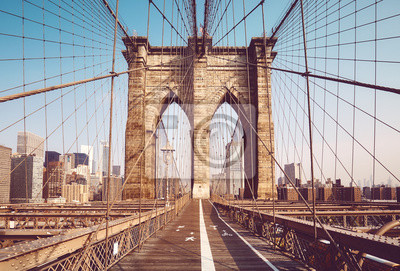 Obraz Brooklyn Bridge in the morning, color toning applied, New York City, USA.