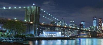 Obraz Brooklyn Bridge w nocy w Nowym Jorku