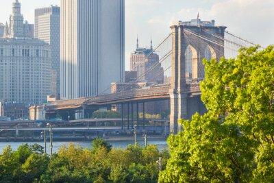 Obraz Brooklyn Bridge w Nowym Jorku przed zachodem słońca