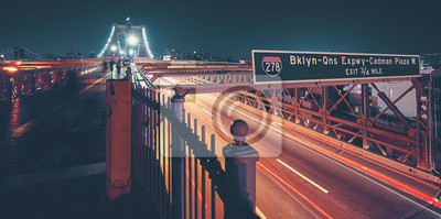 Brooklyn Bridge with Brooklyn-Queens Expressway I-278, color toned picture, New York City, USA.