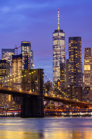 Obraz Brooklyn bridge with Lower Manhattan skyscrapers bulding for New York City in New York State NY , USA