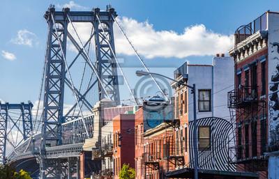 Brooklyn Ulica sceny z bloku budynków w pobliżu Williamsb