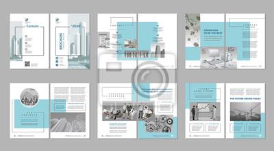 Obraz Broszura kreatywny projekt. Szablon uniwersalny, w tym okładka, tylna i wewnętrzna strona. Modny minimalistyczny płaski geometryczny wzór. Pionowy format A4.