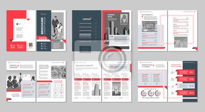 Obraz Broszura kreatywny projekt. Uniwersalny szablon z okładką, tylnymi i wewnętrznymi stronami. Modny minimalistyczny płaski geometryczny wzór. Pionowy format A4.
