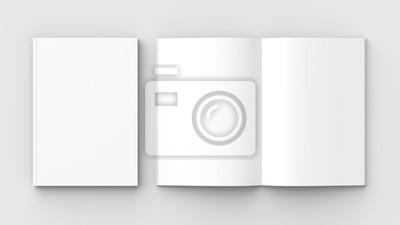 Obraz Broszury, czasopisma, książki lub katalogu makiety na białym tle na miękkim szarym tle. 3D ilustrujące.