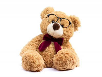 Obraz Brown teddy bear with eye glasses  isolated on white background.