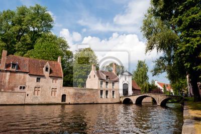 Bruges, kanał widok panoramiczny pobliżu Begijnhof