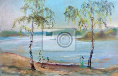Obraz Brzozy nad na rzece