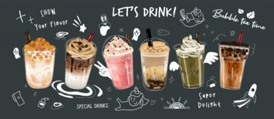 Obraz Bubble milk tea Special Promotions design, Boba milk tea, Pearl milk tea , Yummy drinks, coffees and soft drinks with logo and doodle style advertisement banner. Vector illustration.