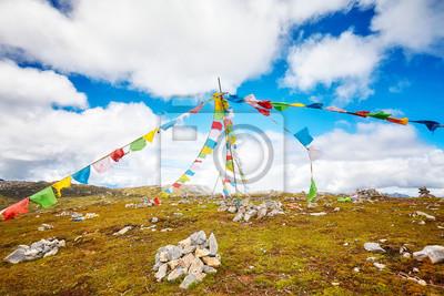 Buddyjska modlitwa zaznacza w Shika Śnieżnym Halnym scenicznym terenie, Yunnan prowincja, Chiny.