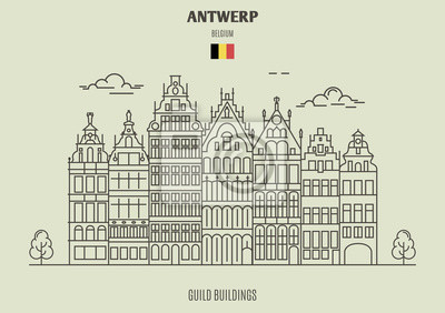 Budynki gildii w Antwerpii, Belgia. Ikona punktu orientacyjnego