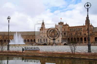 Budynki Wokół Plaza de España w Sewilli.
