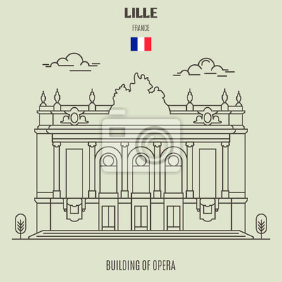 Building of Opera in Lille, France. Landmark icon