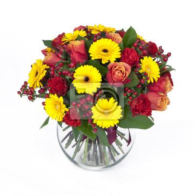 Obraz Bukiet róż i gerbery w wazonie na białym tle